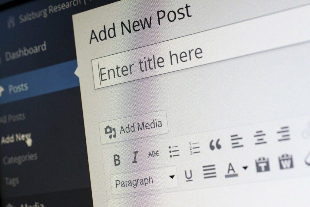 tela do wordpress para inserção de conteúdo